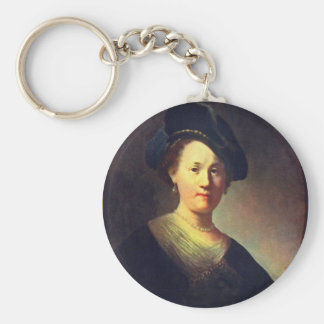 Bust Of A Woman With A Feathered Beret. Keychains