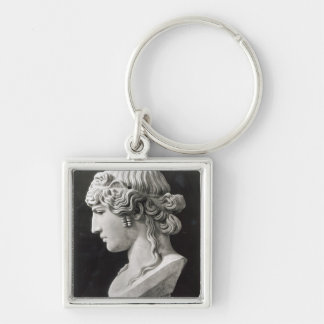 Bust of Antinous  called 'Antinous Mondragone' Silver-Colored Square Keychain