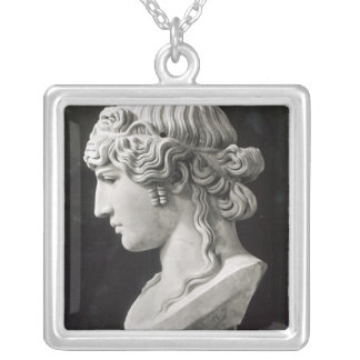 Bust of Antinous  called 'Antinous Mondragone' Silver Plated Necklace