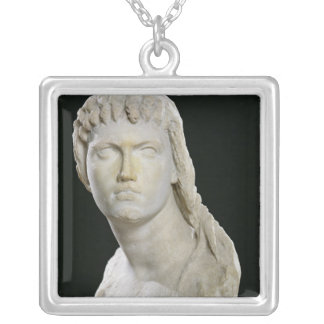 Bust of Cleopatra II or her daughter Silver Plated Necklace