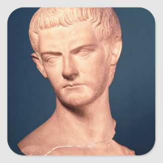 Bust of Emperor Caligula  from Thrace, c.39-40 AD Square Sticker