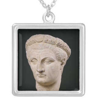 Bust of Emperor Claudius  from Thasos Silver Plated Necklace