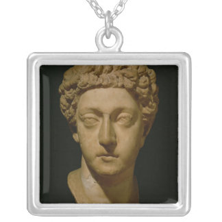 Bust of Emperor Commodus Silver Plated Necklace
