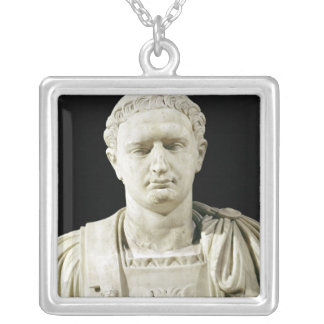 Bust of Emperor Domitian Silver Plated Necklace