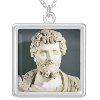 Bust of Emperor Septimus Severus Silver Plated Necklace