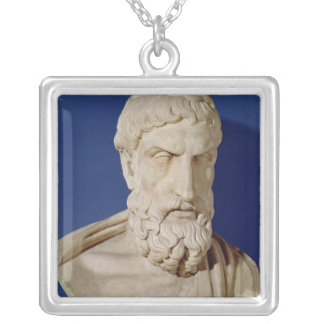 Bust of Epicurus Silver Plated Necklace