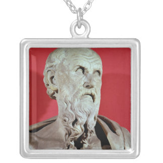 Bust of Hesiod Square Pendant Necklace
