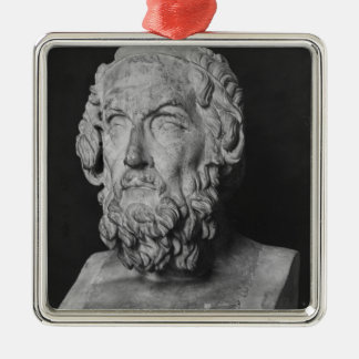 Bust of Homer, Hellenistic period Square Metal Christmas Ornament