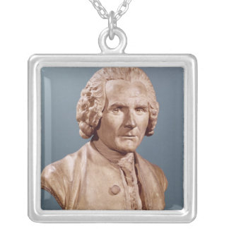 Bust of Jean-Jacques Rousseau Silver Plated Necklace