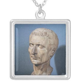 Bust of Julius Caesar Square Pendant Necklace