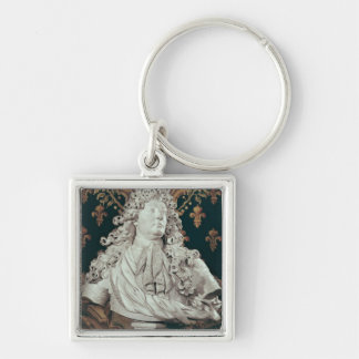 Bust of Louis XIV  1686 Silver-Colored Square Keychain