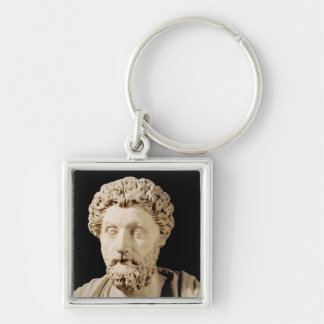 Bust of Marcus Aurelius Silver-Colored Square Keychain