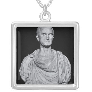 Bust of Marcus Licinius Crassus Silver Plated Necklace