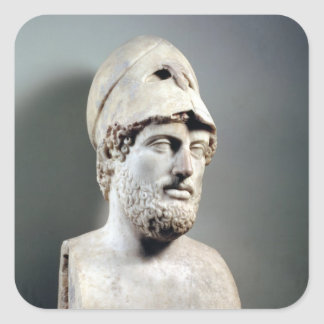 Bust of Pericles  copy of a Greek original Square Sticker