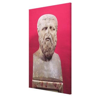 Bust of Plato  copy of a 4th century BC original Canvas Print