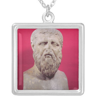 Bust of Plato  copy of a 4th century BC original Square Pendant Necklace
