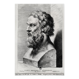 Bust of Plato engraved by Lucas Emil Poster