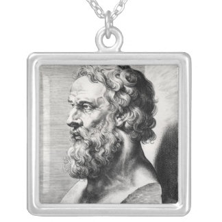 Bust of Plato engraved by Lucas Emil Square Pendant Necklace