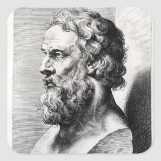 Bust of Plato engraved by Lucas Emil Square Sticker