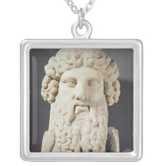 Bust of Plato Square Pendant Necklace