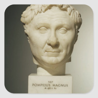 Bust of Pompey (106-48 BC) c.60 BC (marble) Square Sticker