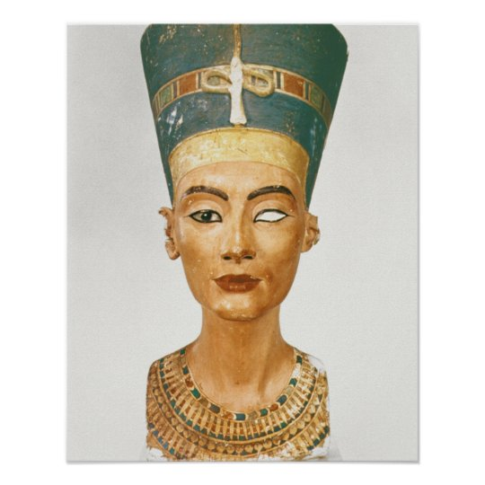 Bust of Queen Nefertiti, front view, from the stud Poster