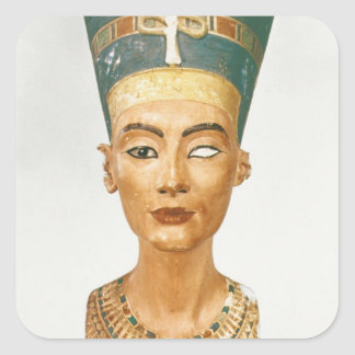 Bust of Queen Nefertiti, front view, from the stud Square Sticker