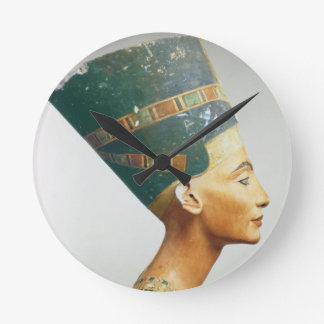 Bust of Queen Nefertiti, side view, from the studi Round Clock