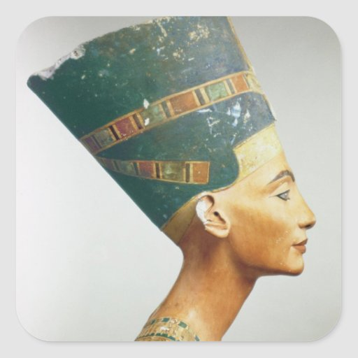 Bust of Queen Nefertiti, side view, from the studi Square Stickers