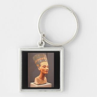 Bust of Queen Nefertiti Silver-Colored Square Keychain
