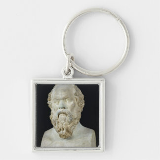 Bust of Socrates Silver-Colored Square Keychain
