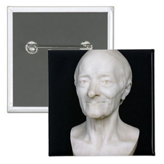 Bust of Voltaire  without his wig, 1778 2 Inch Square Button