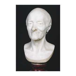 Bust of Voltaire  without his wig, 1778 Canvas Print
