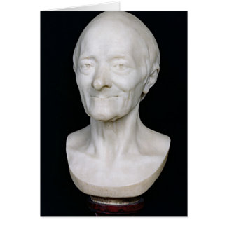 Bust of Voltaire  without his wig, 1778 Card