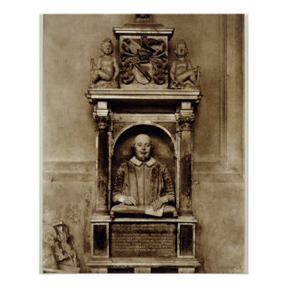 Bust of William Shakespeare (1564-1616) and inscri Poster