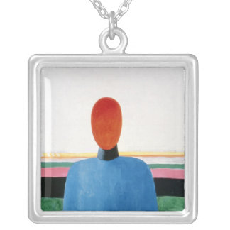 Bust of Woman Silver Plated Necklace