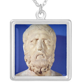 Bust of Zeno of Citium Silver Plated Necklace