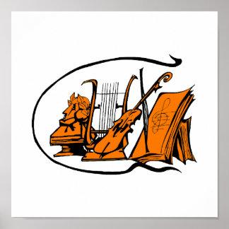 bust orange lyre violin sheet music design.png poster