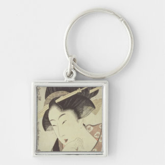 Bust portrait of the heroine Kioto of the Itoya Silver-Colored Square Keychain