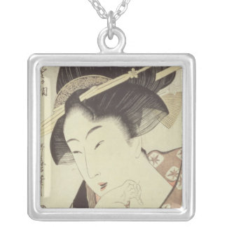 Bust portrait of the heroine Kioto of the Itoya Silver Plated Necklace