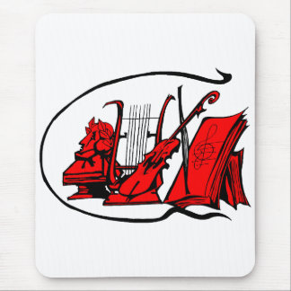 bust red lyre violin sheet music design.png mouse pad