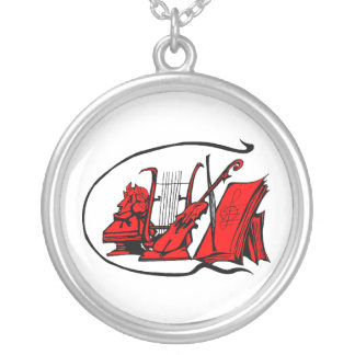 bust red lyre violin sheet music design.png round pendant necklace