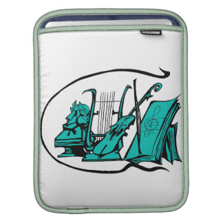 bust teal lyre violin sheet music design.png iPad sleeve
