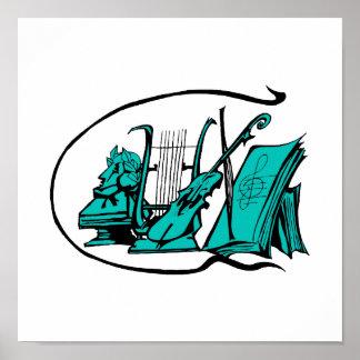 bust teal lyre violin sheet music design.png poster