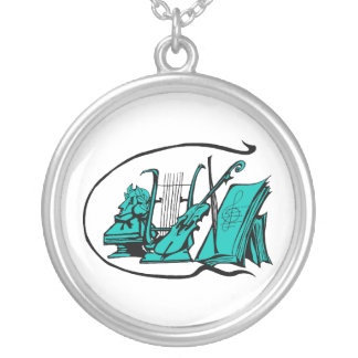 bust teal lyre violin sheet music design.png round pendant necklace