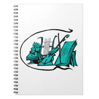 bust teal lyre violin sheet music design.png spiral notebook