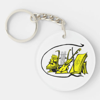 bust yellow lyre violin sheet music design.png keychain