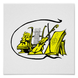 bust yellow lyre violin sheet music design.png poster