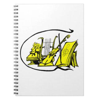bust yellow lyre violin sheet music design.png spiral notebook