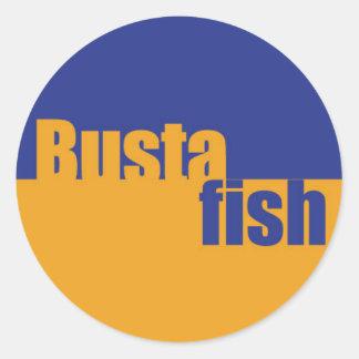 bustafish circle logo round stickers